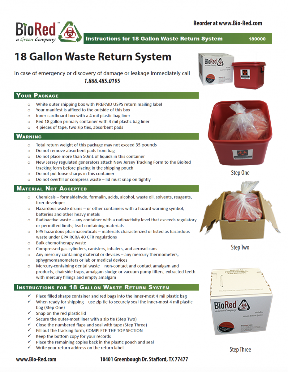 Waste Return System Instructions - Medical Waste